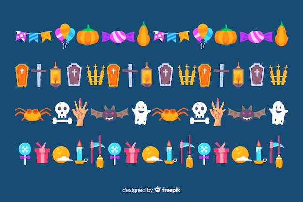 Płaska kolekcja granica halloween na niebieskim tle Darmowych Wektorów