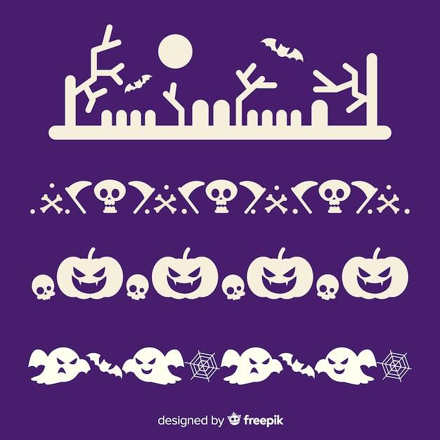 Płaska Kolekcja Granicy Halloween W Kolorze Fioletowym I Białym Darmowych Wektorów