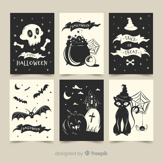 Płaska kolekcja kart halloween w czerni i bieli Darmowych Wektorów