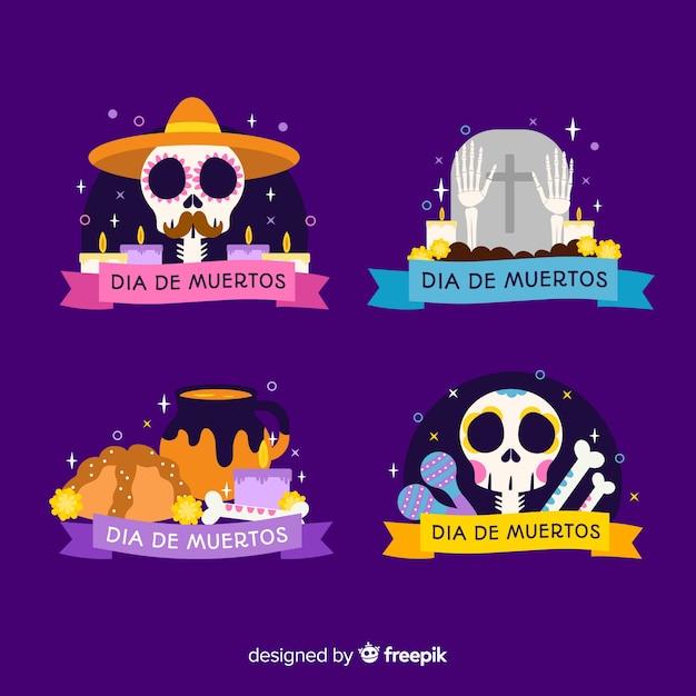 Płaska kolekcja kolekcji etykiet dia de muertos Darmowych Wektorów