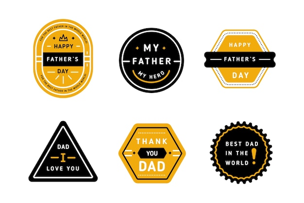 Płaska Kolekcja Kolekcji Na Dzień Ojca Darmowych Wektorów