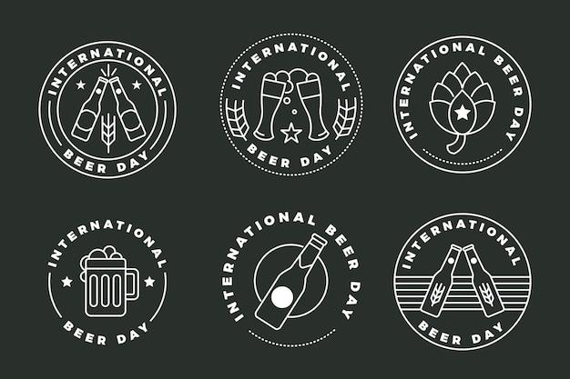 Płaska Kolekcja Kolekcji Odznak Z Okazji Międzynarodowego Dnia Piwa Darmowych Wektorów