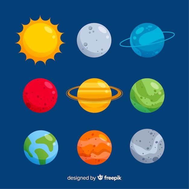Płaska kolekcja kolorowych planet Darmowych Wektorów