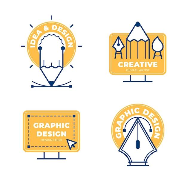 Płaska Kolekcja Logo Projektanta Graficznego Darmowych Wektorów