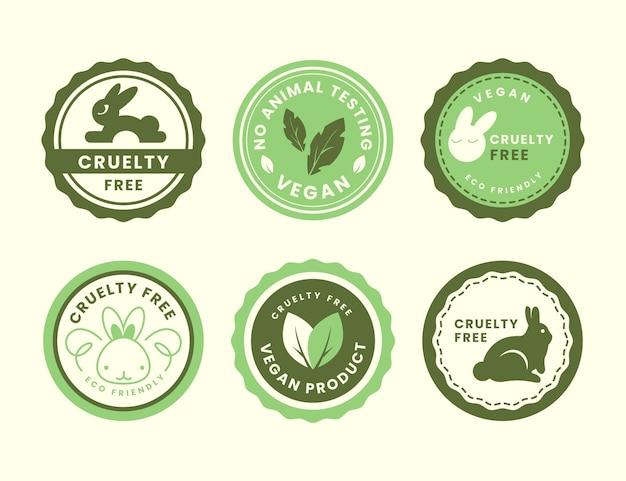 Płaska Kolekcja Odznak Cruelty Free Darmowych Wektorów