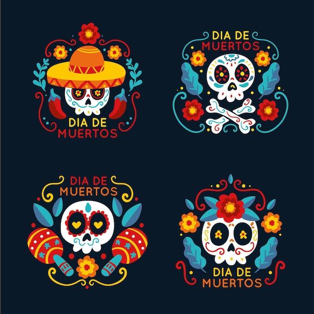 Płaska Kolekcja Odznak Dia De Muertos Darmowych Wektorów