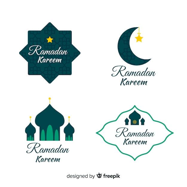 Płaska Kolekcja Odznak Ramadanu Darmowych Wektorów