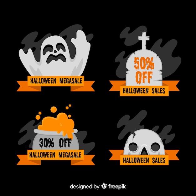 Płaska kolekcja odznaka sprzedaż halloween Darmowych Wektorów