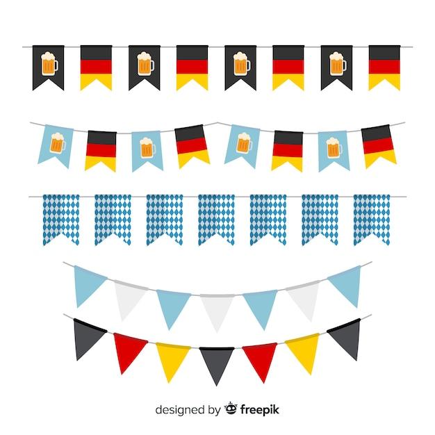 Płaska Kolekcja Oktoberfest Wianek Darmowych Wektorów