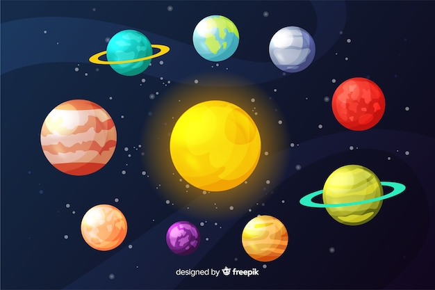 Płaska Kolekcja Planet Wokół Słońca Darmowych Wektorów