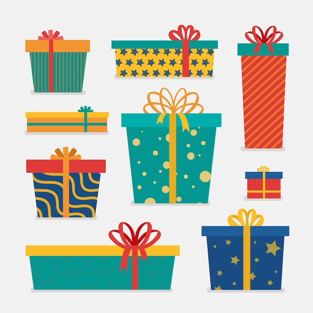 Płaska Kolekcja świątecznych Prezentów Darmowych Wektorów