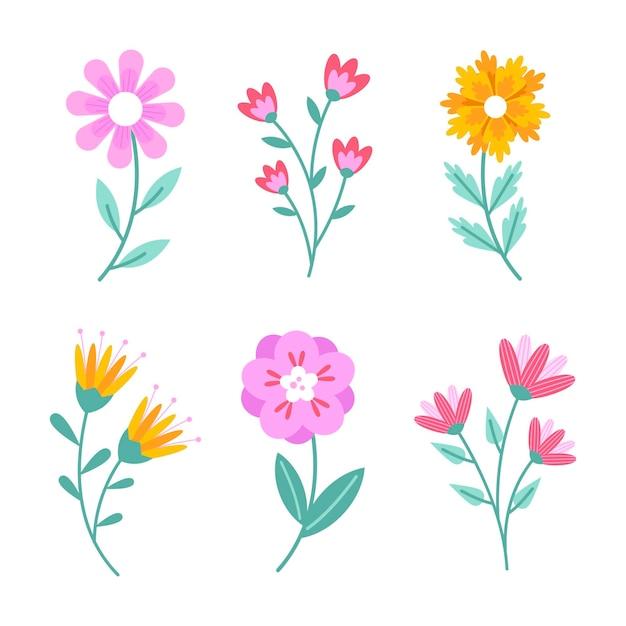 Płaska Kolekcja Wiosennych Kwiatów Darmowych Wektorów