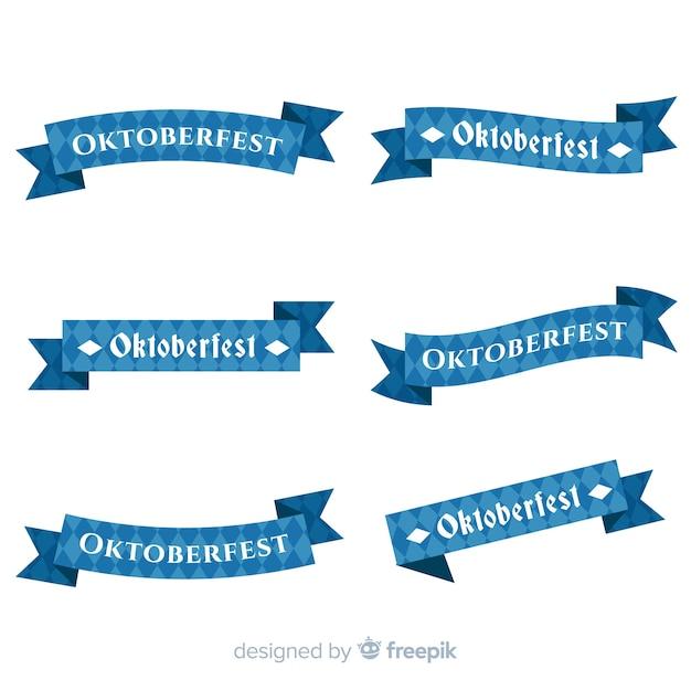 Płaska Kolekcja Wstążki Oktoberfest Darmowych Wektorów
