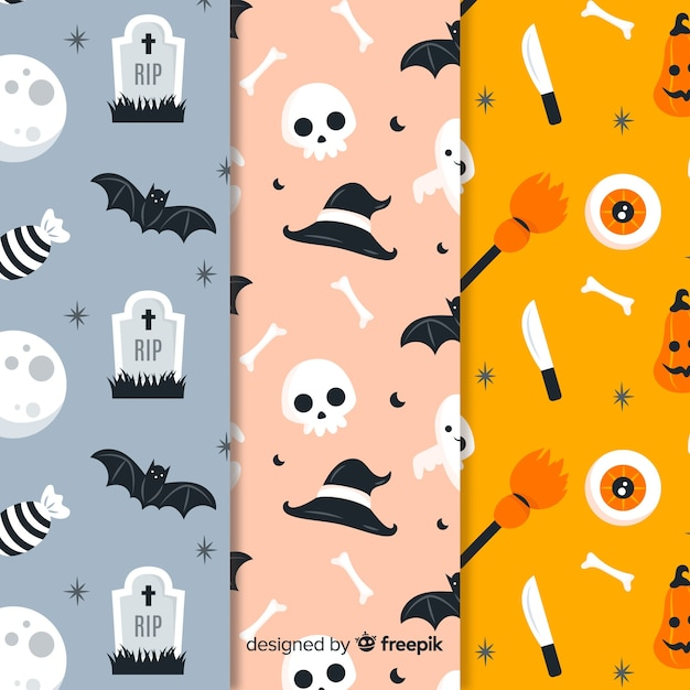 Płaska kolekcja wzór halloween Darmowych Wektorów