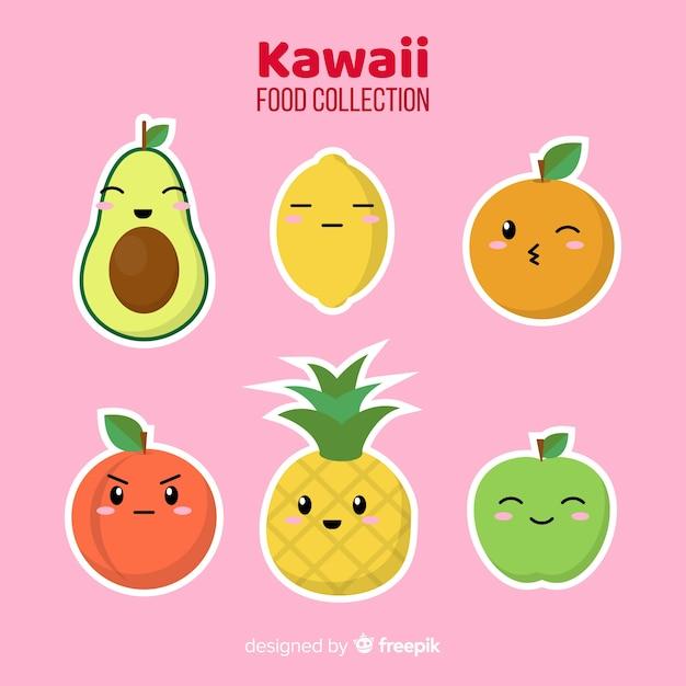 Płaska kolekcja żywności kawaii Darmowych Wektorów