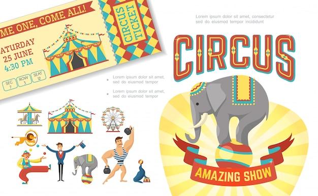 Płaska Kompozycja Cyrkowa Z Wyszkolonymi Zwierzętami Wykonującymi Sztuczki Namiot Siłacza żonglującego Klaunem Magikiem Karuzela Darmowych Wektorów
