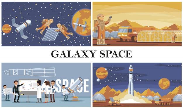 Płaska Kompozycja Do Eksploracji Kosmosu Z Astronautami Naprawia Naukowców Zajmujących Się Kolonizacją Satelitów Na Marsie I Start Rakiet Darmowych Wektorów