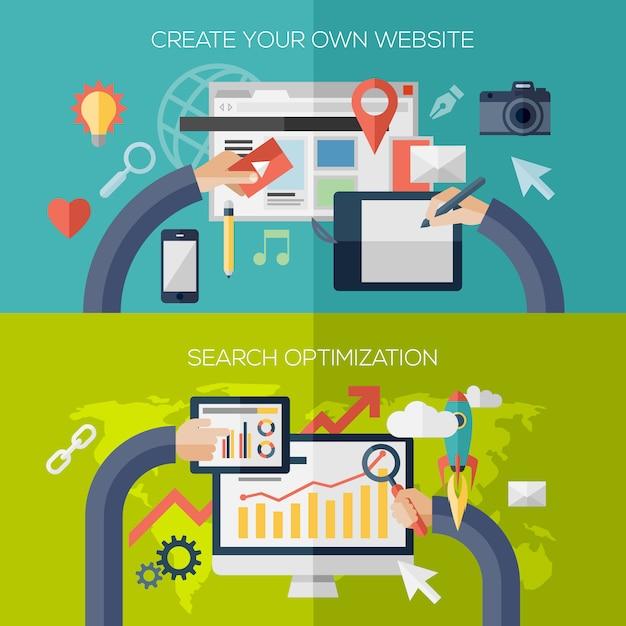 Płaska Kompozycja Elementów Do Tworzenia Procesu Tworzenia Strony Internetowej, Aplikacji Internetowej Premium Wektorów
