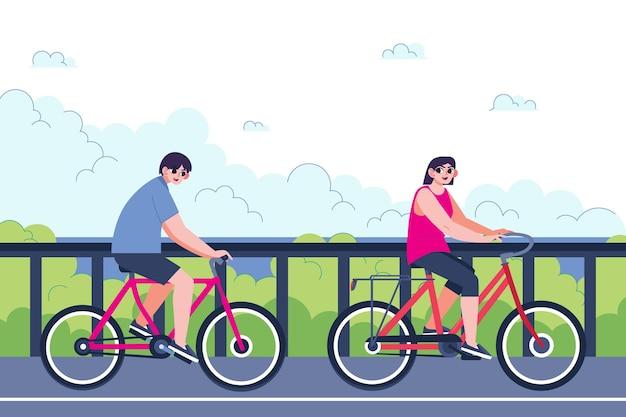 Płaska Koncepcja Lokalnej Turystyki Z Rowerami Darmowych Wektorów