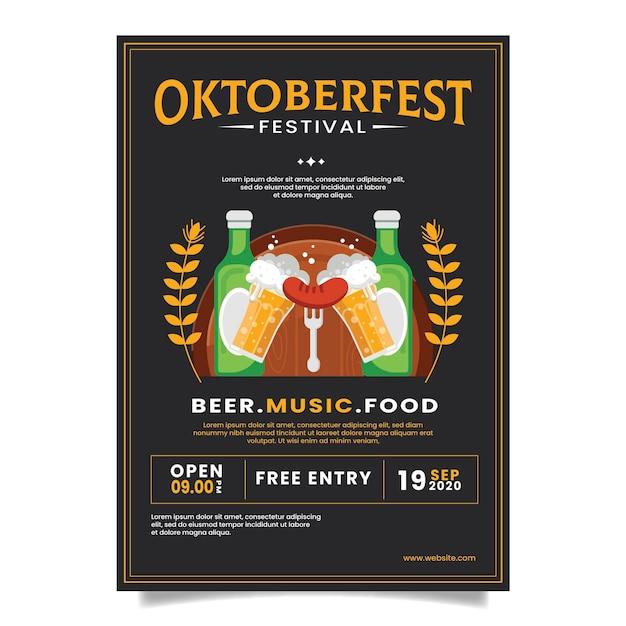 Płaska Koncepcja Plakatu Oktoberfest Darmowych Wektorów