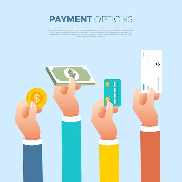 Płaska Koncepcja Płatności. Metoda Płatności Oraz Opcja Lub Kanał Przesyłania Pieniędzy. Zilustrować. Premium Wektorów
