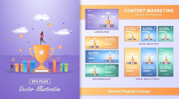 Płaska Koncepcja Programu Premiowego. Ludzie Otrzymują Nagrody Z Transakcji W Sklepie Internetowym, Programy Zwrotu Gotówki Dla Lojalnych Klientów. Premium Wektorów