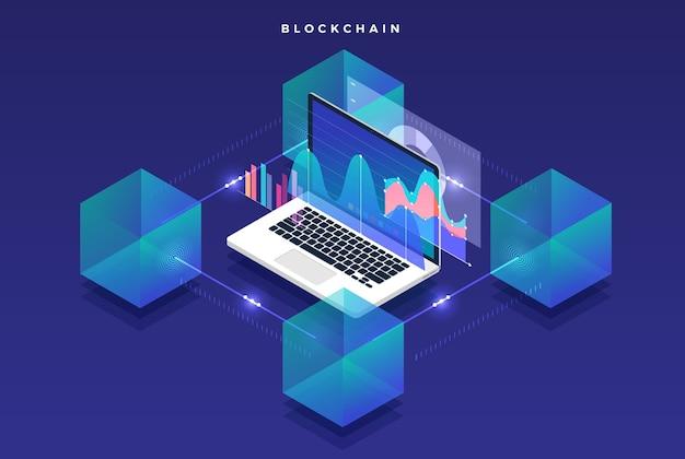 Płaska Koncepcja Technologii Blockchain I Kryptowaluty Premium Wektorów