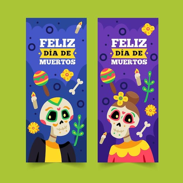 Płaska Konstrukcja Banerów Día De Muertos Darmowych Wektorów