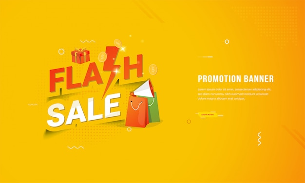 Płaska Konstrukcja Baneru Do Sklepu Internetowego Z Koncepcją Promocji Sprzedaży Flash Premium Wektorów