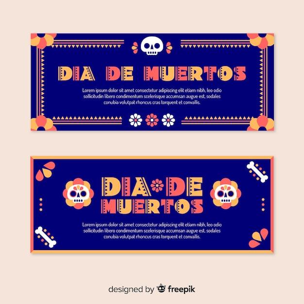 Płaska konstrukcja banery día de muertos Darmowych Wektorów