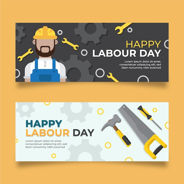 Płaska Konstrukcja Banery Dzień Pracy Darmowych Wektorów