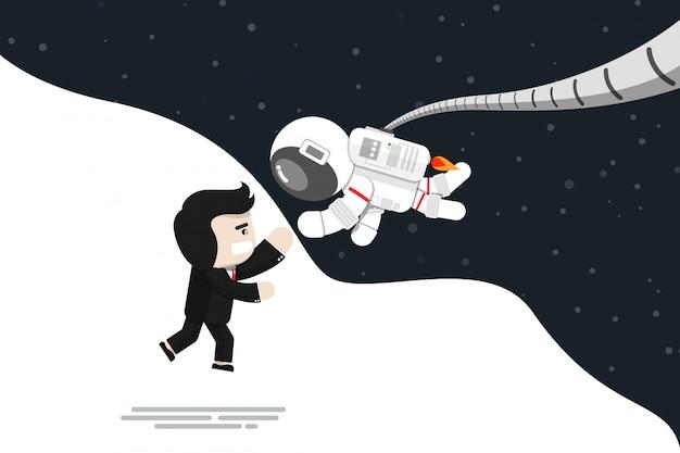 Płaska konstrukcja, biznesmen skacze do radości z astronautą, ilustracji wektorowych, element infographic Premium Wektorów