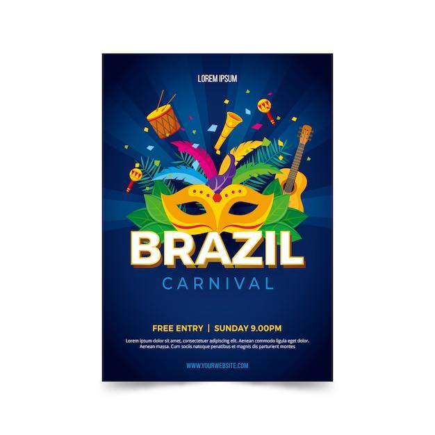 Płaska Konstrukcja Brazylijskiego Karnawału Plakat Szablon Darmowych Wektorów