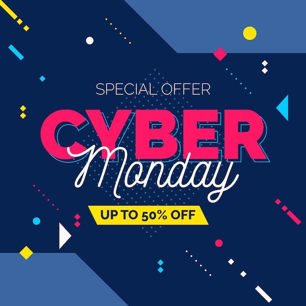Płaska Konstrukcja Cyber Poniedziałek Sprzedaż Transparent Darmowych Wektorów