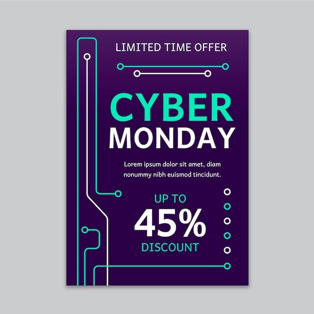 Płaska Konstrukcja Cyber Poniedziałek Szablon Ulotki Darmowych Wektorów