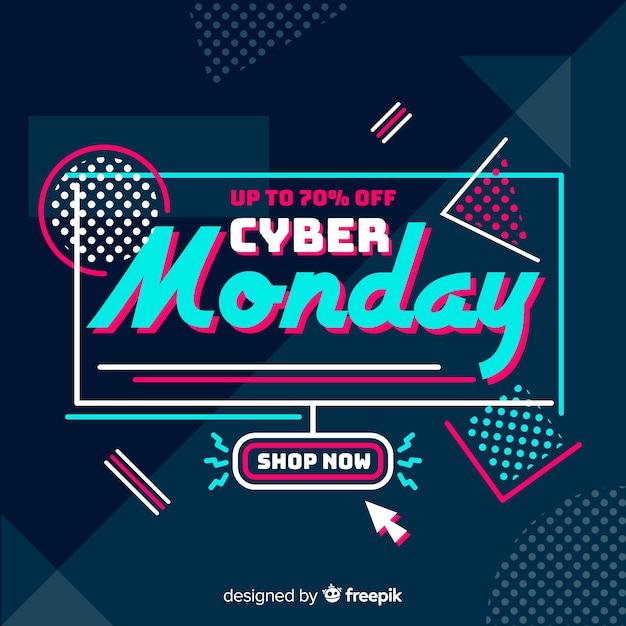 Płaska konstrukcja cyber poniedziałek tło Darmowych Wektorów