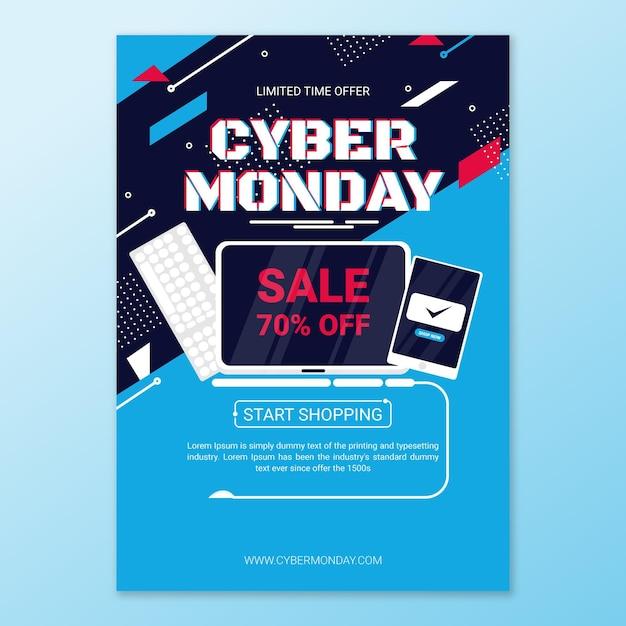 Płaska Konstrukcja Cyber Poniedziałek Ulotki Szablon Produktów Na Sprzedaż Darmowych Wektorów