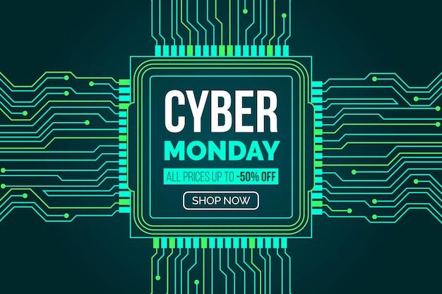 Płaska Konstrukcja Cyber Poniedziałek Z Obwodami Płyty Głównej Darmowych Wektorów