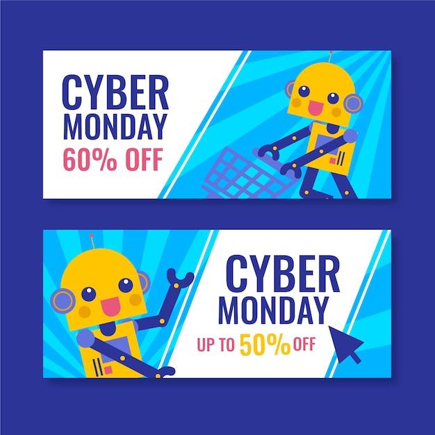 Płaska konstrukcja cyber poniedziałki banery szablon Darmowych Wektorów