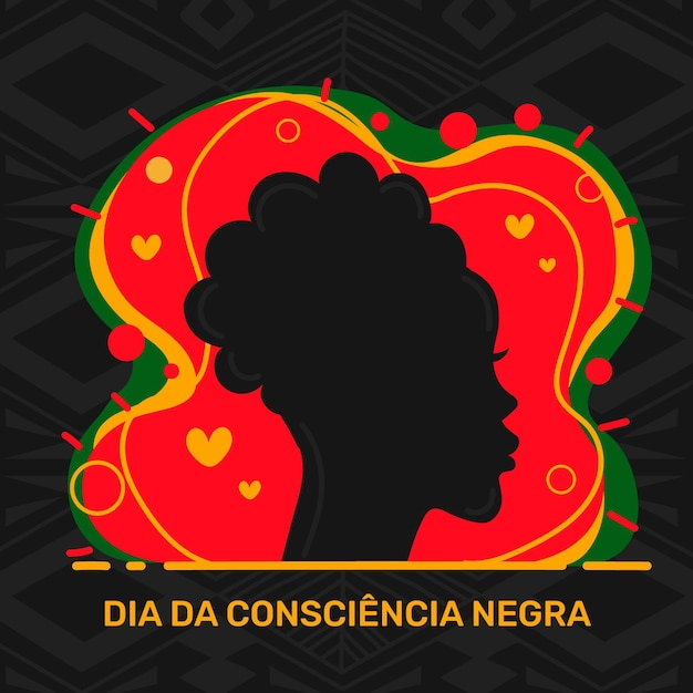 Płaska Konstrukcja Dia Da Consciencia Negra Darmowych Wektorów