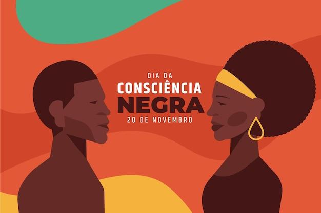 Płaska Konstrukcja Dia Da Consciencia Negra Premium Wektorów