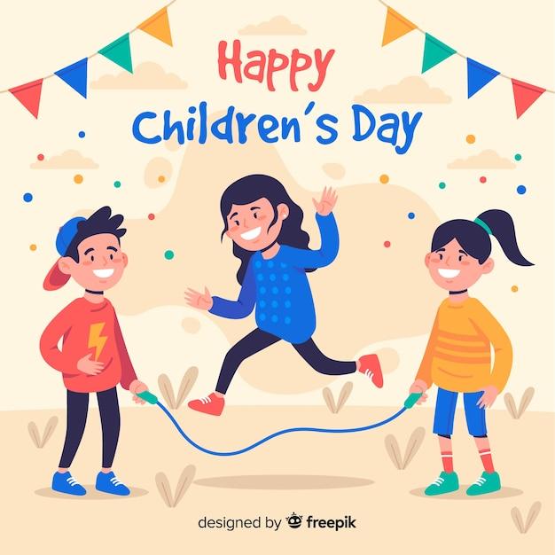 Płaska konstrukcja dnia dziecka z dziećmi i girlandami Darmowych Wektorów