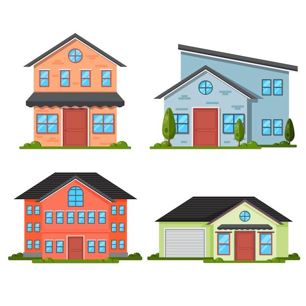 Płaska Konstrukcja Domu Premium Wektorów