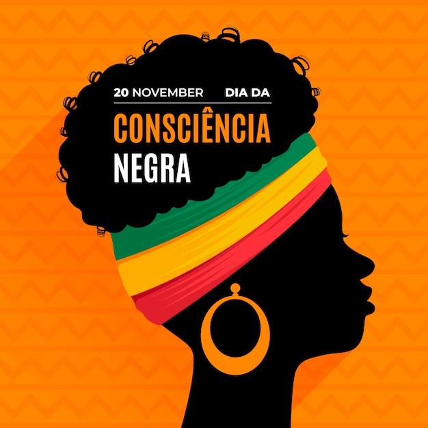 Płaska Konstrukcja Dzień Consciencia Negra Premium Wektorów