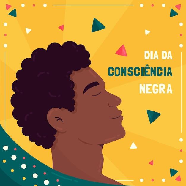 Płaska Konstrukcja Dzień Consiencia Negra Premium Wektorów