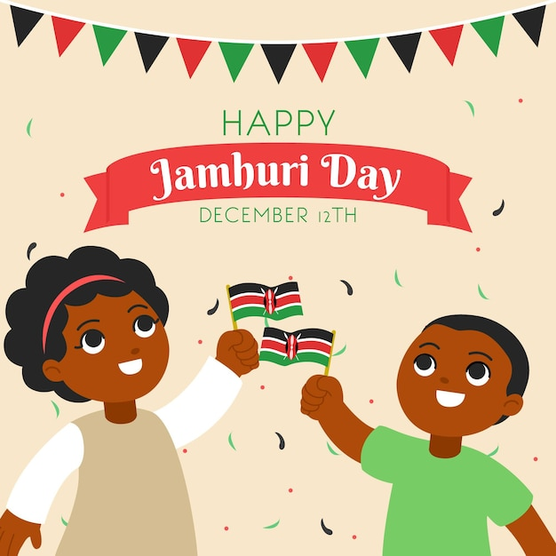 Płaska Konstrukcja Dzień Jamhuri Darmowych Wektorów