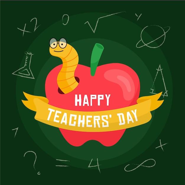 Płaska Konstrukcja Dzień Nauczycieli Tła Z Jabłkiem I Robakiem Darmowych Wektorów