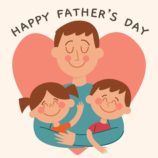 Płaska Konstrukcja Dzień Ojca Ilustracja Z Dziećmi Darmowych Wektorów