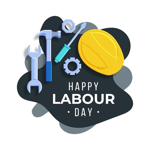 Płaska Konstrukcja Dzień Pracy Ilustracja Z Narzędziami Darmowych Wektorów