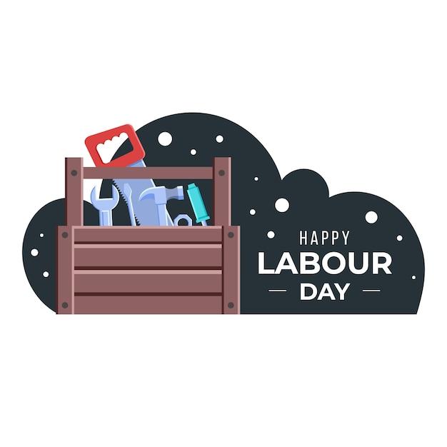 Płaska Konstrukcja Dzień Pracy Ilustracja Z Skrzynka Narzędziowa Darmowych Wektorów